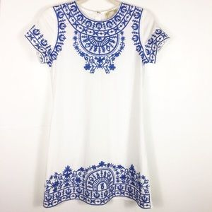 Blue and white embroidered dress